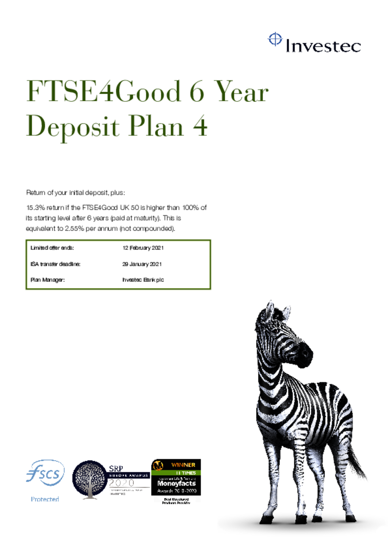 Investec FTSE4Good 6 Year Deposit Plan 3