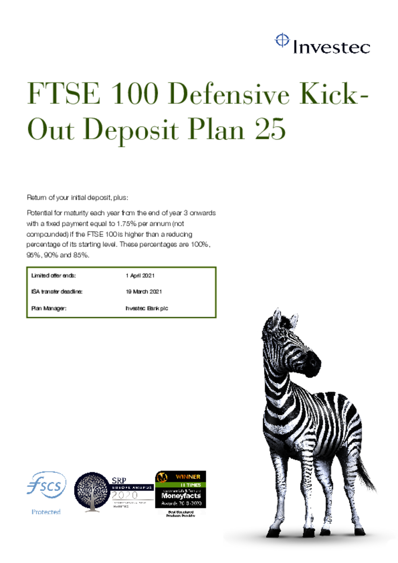 Investec FTSE 100 Defensive Kick Out Deposit Plan 23