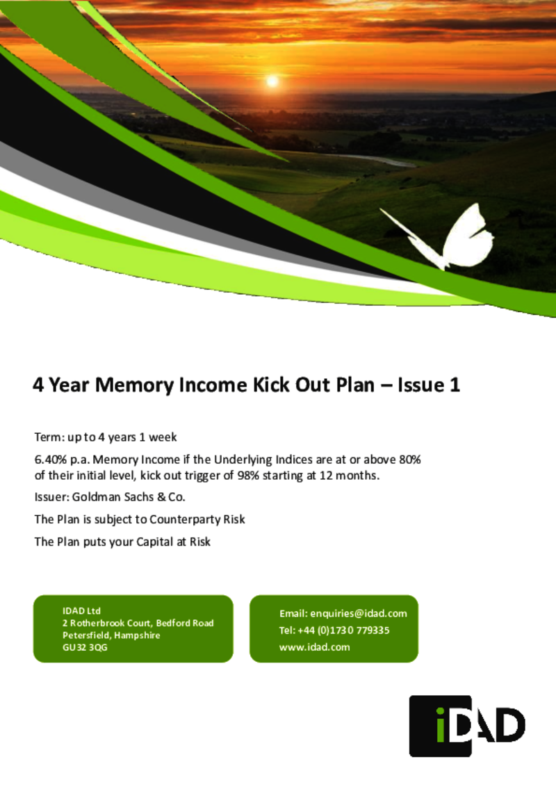 IDAD Goldman Sachs 4 Year Memory Income Kick Out Plan - Issue 1