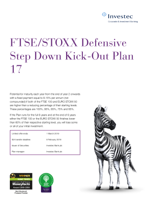 FTSE STOXX Defensive Step Down Kick Out Plan 15
