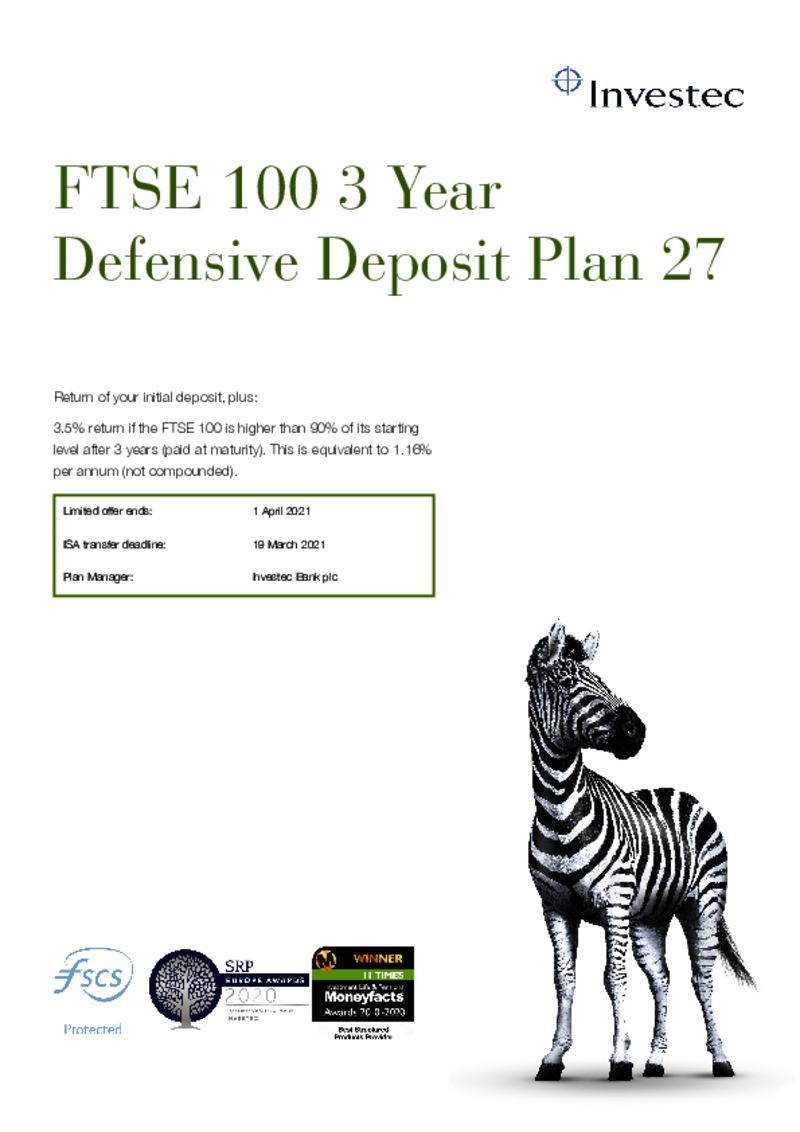 FTSE 100 3 Year Defensive Deposit Plan 20