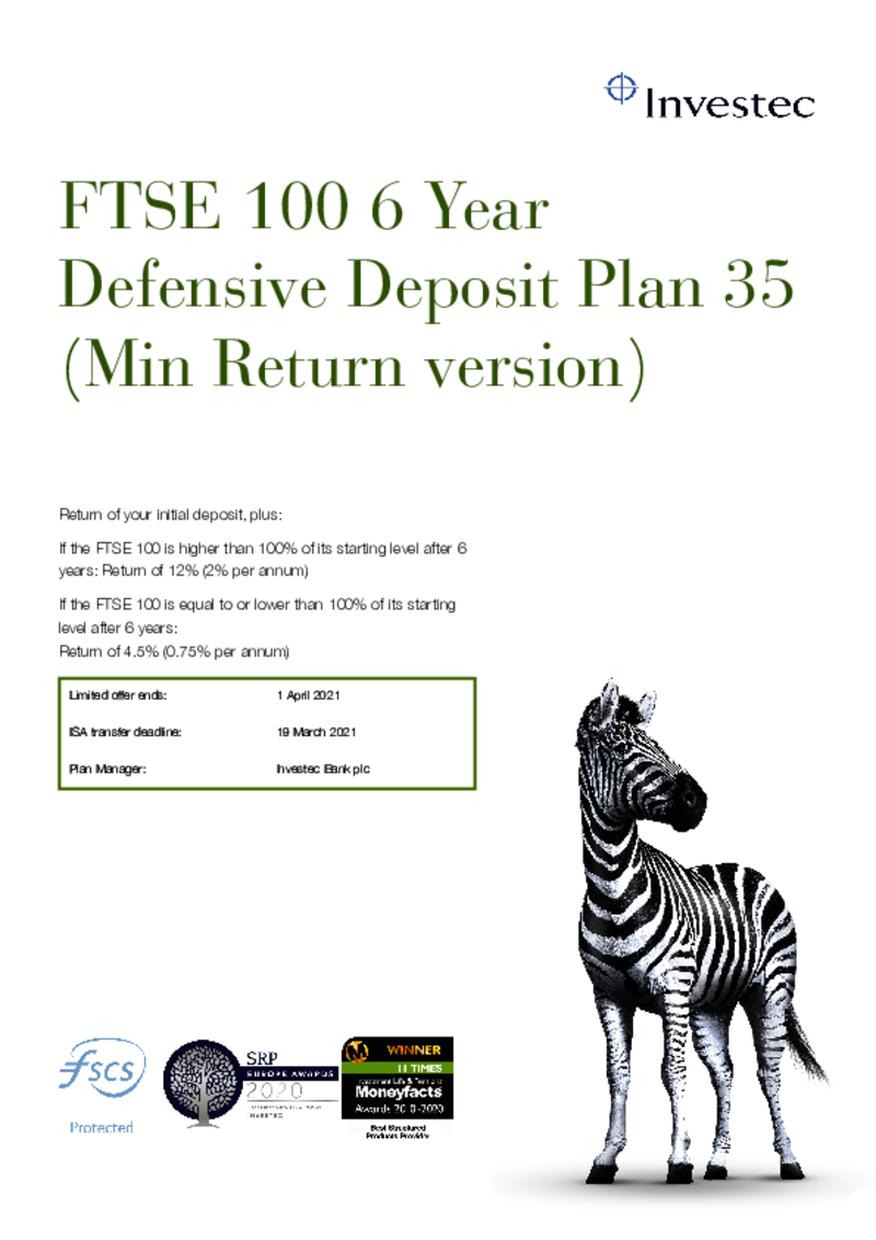 FTSE 100 6 Year Defensive Deposit Plan 22