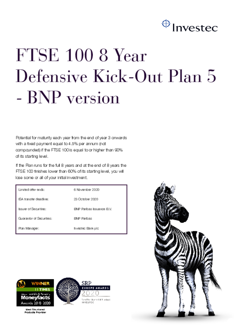 Investec FTSE 100 8 Year Defensive Kick-Out Plan 5 - BNP Version
