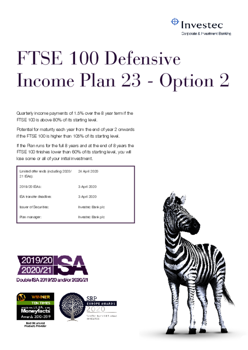 FTSE 100 Defensive Income Plan 23 - Option 1
