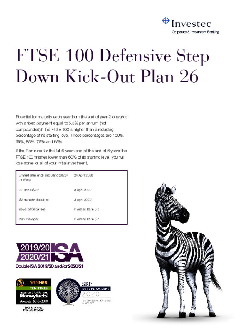 FTSE 100 Defensive Step Down Kick Out Plan 20