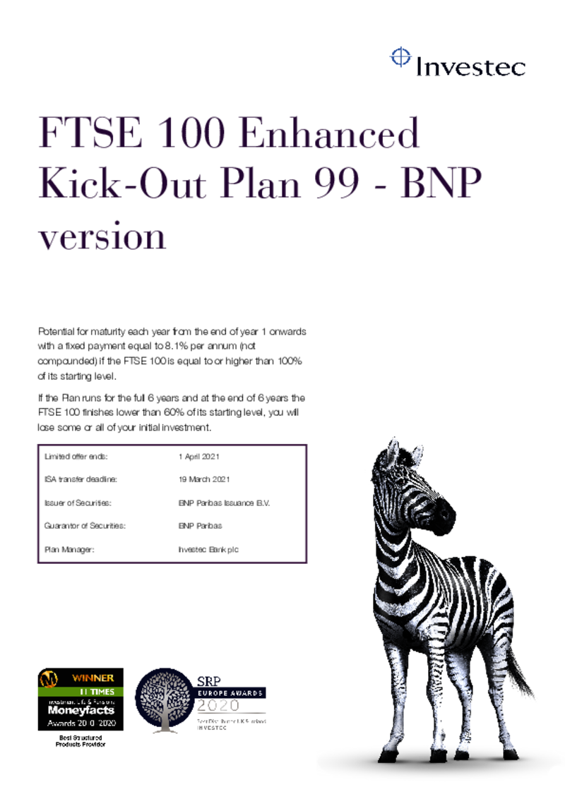 FTSE 100 Enhanced Kick-Out Plan 81 (Investec Option)