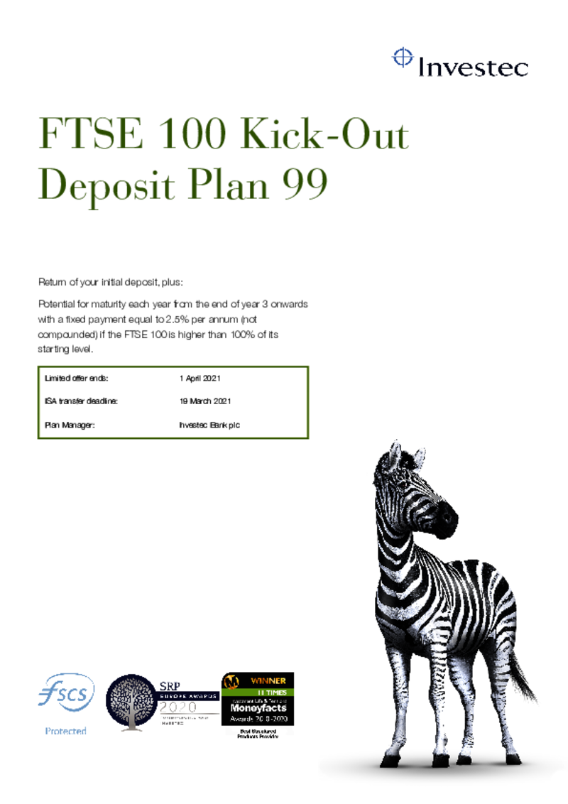 FTSE 100 Kick-Out Deposit Plan 92