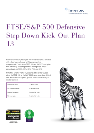 FTSE S&P 500 Defensive Step Down Kick Out Plan 11