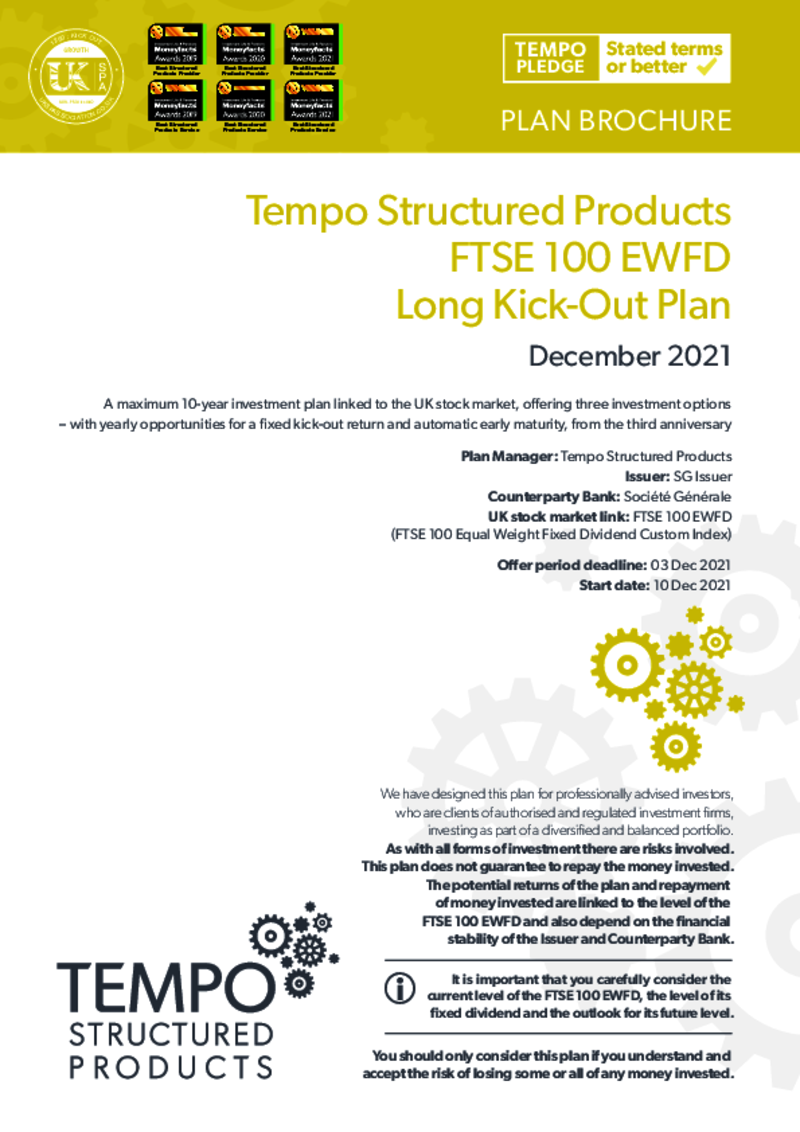 Tempo FTSE 100 FDEW Long Kick-Out Plan July 2020 : Option 1